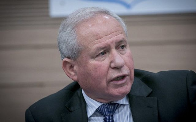 Avi Dichter, Chairman of the Foreign Affairs and Defense Committee, on December 8, 2016 (Yonatan Sindel/Flash90)