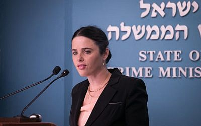Justice Minister Ayelet Shaked speaks during a press conference at the Prime Minister's Office in Jerusalem, December 28, 2016. (Ohad Zwigenberg)