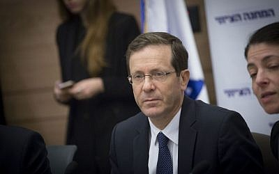 Zionist Union chair Isaac Herzog leads a faction meeting in the Knesset, January 2 2017. (Miriam Alster/Flash90)