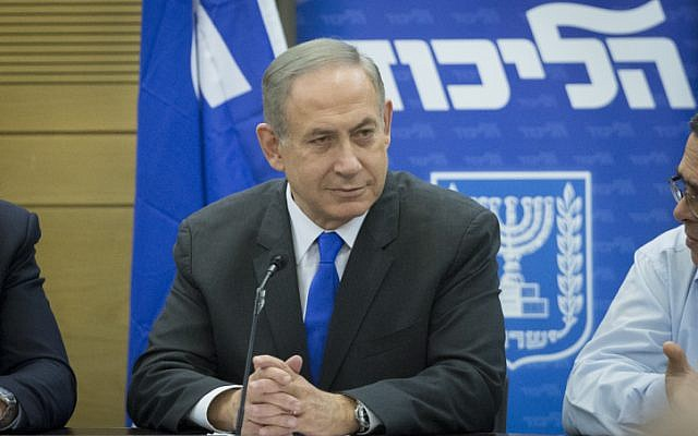 Prime Minister Benjamin Netanyahu leads a Likud faction meeting on January 2, 2017. (Miriam Alster/FLASH90)