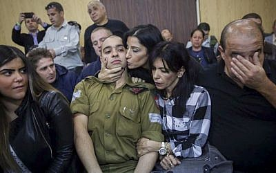 Elor Azaria, the Israeli soldier who shot a Palestinian terrorist in Hebron, in court room before the announcement of his verdict, January 4, 2017 (Miriam Alster/Flash90)