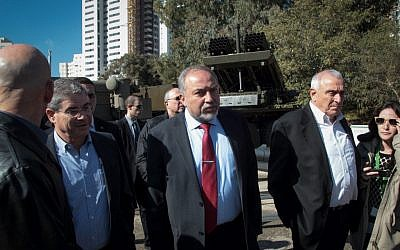 Defense Minister Avigdor Liberman tours the Israel Military Industries factory, on January 4, 2017. (Roy Alima/Flash90)