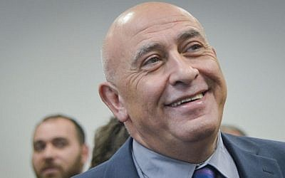 Joint List MK Basel Ghattas arrives for a court hearing at the Rehovot Magistrate's Court, January 5, 2017. (Avi Dishi/Flash90)