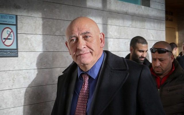 Former Joint Arab List member Basel Ghattas arrives for a court hearing at the Lod Magistrate's Court, January 8, 2017. (Roy Alima/Flash90)