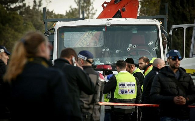 The scene where a truck rammed into a group of Israeli soldiers, killing at least four in the Armon Hanetziv neighborhood of Jerusalem. (Sebi Berens/Flash90)