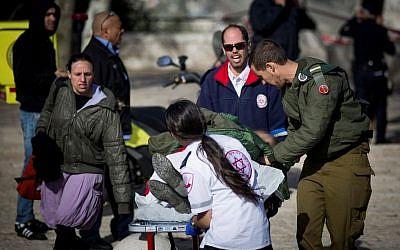 The scene of a truck-ramming attack in the Armon Hanatziv neighborhood of East Jerusalem on January 8, 2016. (Yonatan Sindel/Flash90)