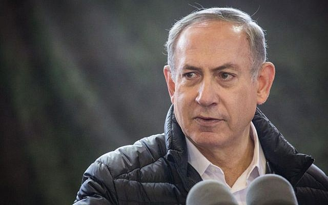 Prime Minister Benjamin Netanyahu delivers a statement to the press after during a visit to the IDF West Bank Division, January 10, 2017. (Hadas Parush/FLASH90)