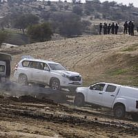 The car used in an alleged car ramming attack, killing an Israeli policeman, during clashes and protests against demolition of homes in the Bedouin village of Umm al-Hiran in the Negev desert, southern Israel, January 18, 2017. (Hadas Parush/Flash90)