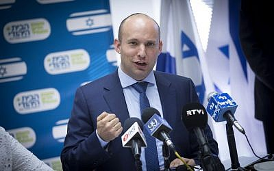 Jewish Home head Naftali Bennett chairs a Knesset faction meeting on january 23, 2017. (Miriam Alster/Flash90)