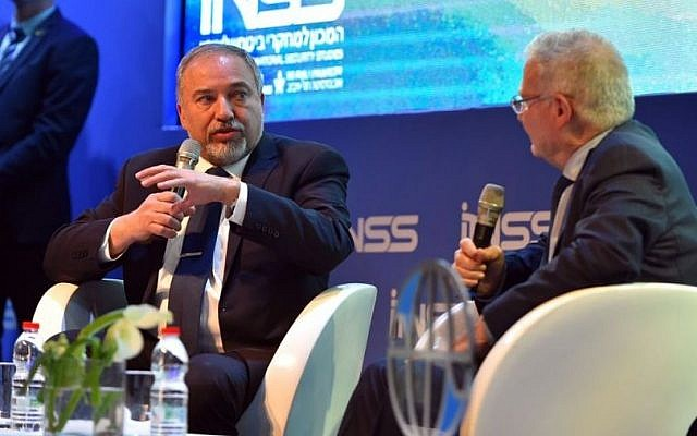 Defense Minister Avigdor Liberman speaks at the annual international conference of the Institute for National Security Studies in Tel Aviv on January 24, 2017. (Ariel Hermoni/Defense Ministry)