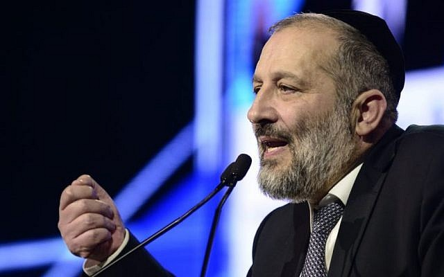 Interior Minister Aryeh Deri speaks at a conference in Tel Aviv, on January 24, 2017 (Tomer Neuberg/Flash90)