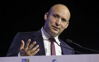 Naftali Bennett speaks at the Local Government Conference, in Tel Aviv, on January 25, 2017. (Flash90)