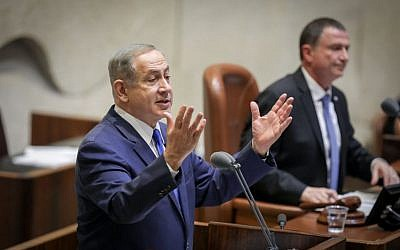 Prime Minister Benjamin Netanyahu speaks a plenum session in the Knesset in Jerusalem on January 25, 2017. (Photo by Yonatan Sindel/FLASH90)