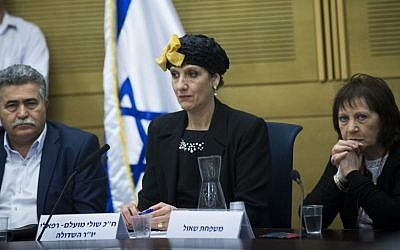 From left to right: Zionist Union MK Amir Peretz, Jewish Home MK Shuli Mualem and Zehava Shaul, mother of Oron Shaul, at the Knesset, January 25, 2017 (Yonatan Sindel/Flash90)