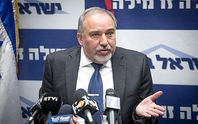 Defense Minister Avigdor Liberman leads a faction meeting in the Knesset on January 30, 2017. (Miriam Alster/FLASH90)