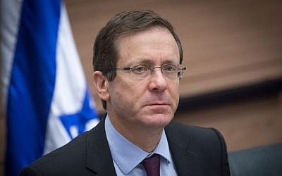 Opposition leader and Zionist Union chairman Isaac Herzog leads a faction meeting in the Israeli parliament, January 30, 2017. (Miriam Alster/FLASH90)