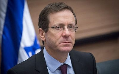 Zionist Union leader MK Isaac Herzog leads a faction meeting in the Knesset, on January 30, 2017. (Miriam Alster/FLASH90)