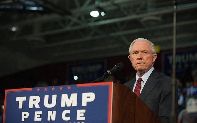 Alabama Senator Jeff Sessions pledging his commitment to Donald Trump at a rally at Ambridge Area Senior High School in Abridge, Pennsylvania, October 10, 2016. (Jeff Swensen/Getty Images)