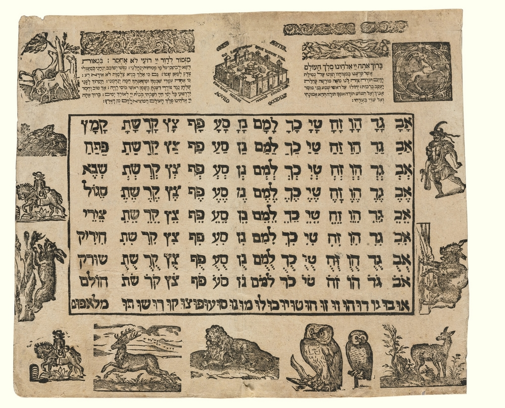 A poster for learning the Hebrew alphabet from Frankfurt, Germany, 1650. (National Library)