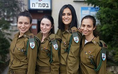 Women commanders in the IDF C4I programmers course: (from right to left) Lt. Rotem Falach, Lt. Noi Shaki, Lt. Savyon Levy, Lt. Lior Dariel (Courtesy: IDF)