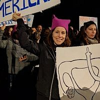 Pamela Azaria from Ramat Hasharon was one of hundreds who protested outside of the American Embassy in Tel Aviv on January 21, 2017. (Melanie Lidman/Times of Israel)
