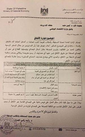 A copy of a letter from Gaza Consumer Protection Council chief Dr. Raed Zaki al-Jazar about Hamas taxation of imports.