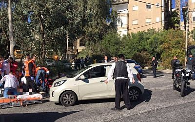 Scene of one of the two shootings in Haifa on Tuesday, January 3, 2017. (Magen David Adom Spokesman)