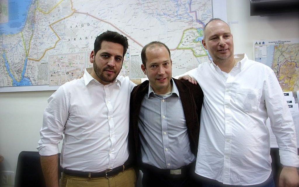 Organizer of Just Beyond our Borders Yoav Yeivin (left), scholar of Syria and activist Prof. Nir Boms (center) and CEO of Amalia Moti Kahana (right). (Dov Lieber/Times of Israel)
