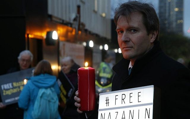 Richard Ratcliffe husband of imprisoned charity worker Nazanin Zaghari-Ratcliffe, poses for the media during an Amnesty International led vigil outside the Iranian Embassy in London, January 16, 2017. (AP/Alastair Grant)