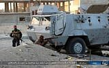 Illustrative: This photo posted on a file sharing website Wednesday, Jan. 11, 2017, by the Islamic State Group in Sinai, shows a deadly attack by terrorists on an Egyptian police checkpoint, Monday, Jan. 9, 2017, in el-Arish, north Sinai, Egypt. (Islamic State Group in Sinai, via AP)