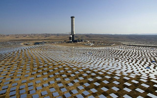 50,000 mirrors, known as heliostats,encircle the solar tower in the Negev desert, near in Ashelim, southern Israel, December 22, 2016. (AP/Oded Balilty)