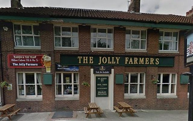 The Jolly Farmers pub, scene of an anti-Semitic and homophobic attack on a gay couple on Christmas Day 2016, in Thornaby, north Yorkshire, England. (Screen capture: Google maps)