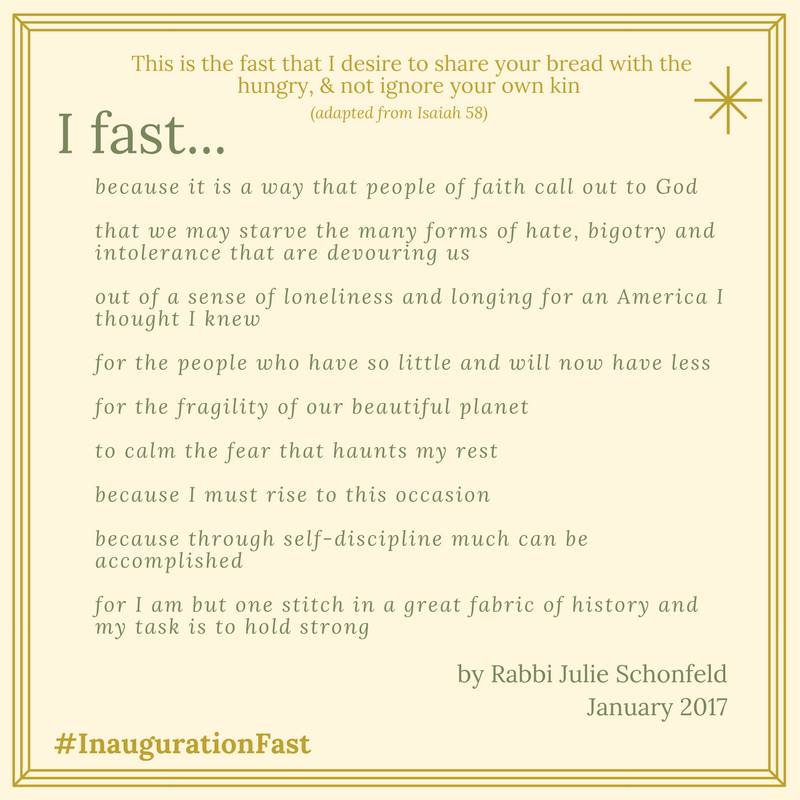The Conservative movement's executive vice president of the Rabbinical Assembly, Rabbi Julie Schonfeld, stated her reasons for participating in #InaugurationFast in a personalized meme she distributed on social media. (Facebook)