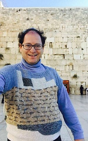 Sam Barsky's Western Wall sweater was the first he did of a site in Israel. (Courtesy/Facebook)