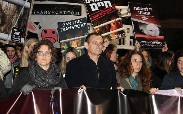 Left to right, MK Yael Cohen Paran, MK Dov Khenin, Ori Shavit protesting live animal imports, January 28, 2017, (Or Keren)