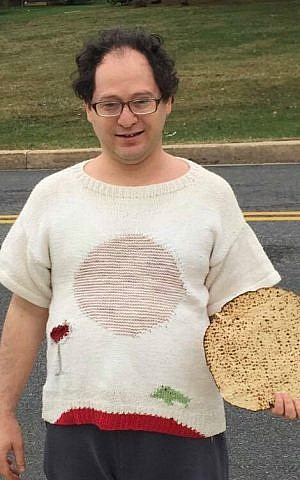 One of Barsky's two Passover-themed sweaters. 'You can't forget the frogs,' he laughed. (Courtesy/Facebook)