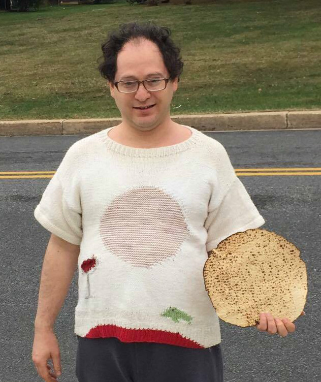 232541862 One of Barsky s two Passover-themed sweaters.  You can t forget the