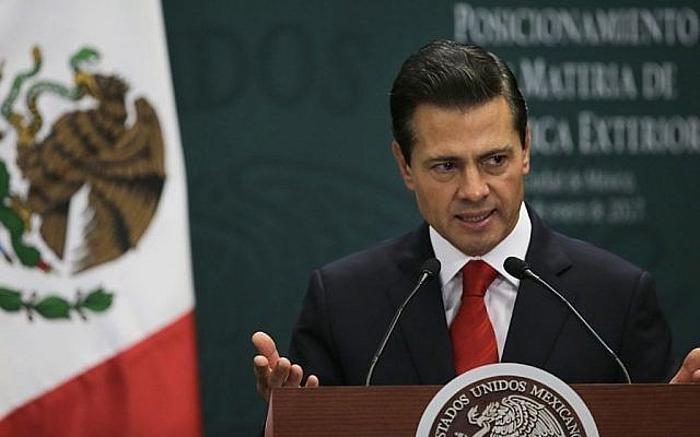 Mexico's President Enrique Pena Nieto speaks during a press conference at Los Pinos presidential residence in Mexico City, Monday, Jan. 23, 2017. (AP/Marco Ugarte)