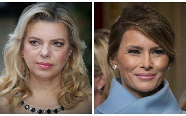 A composite image of Sara Netanyahu, left, and Melania Trump, right. (Flash90, AFP)