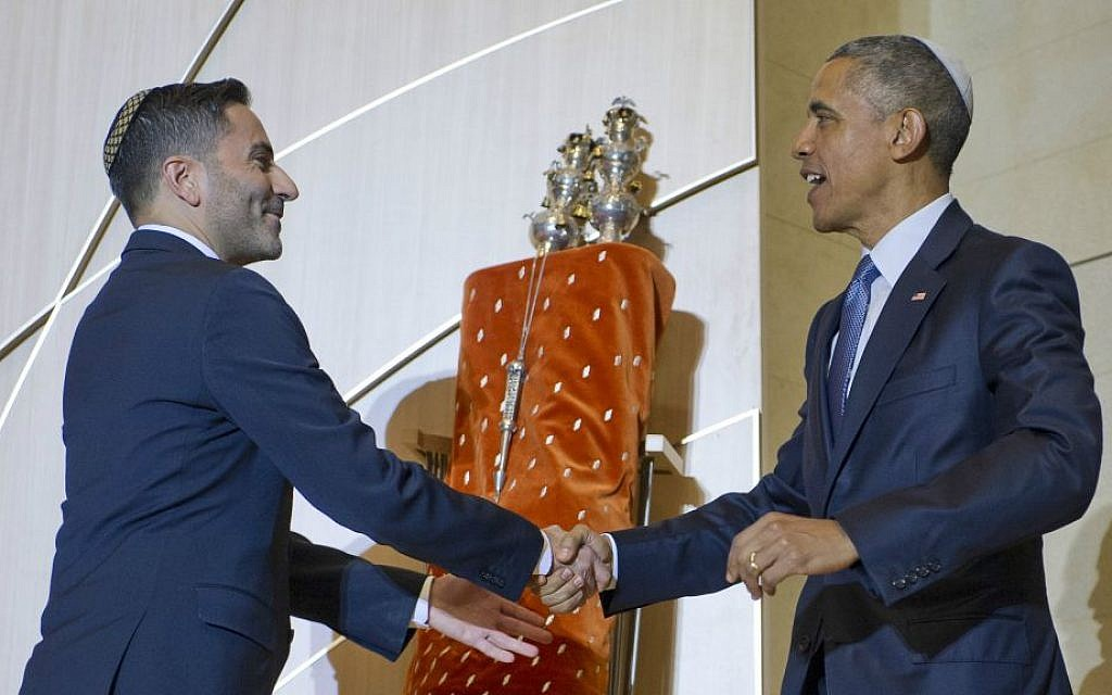 Adas Israel Congregation's Rabbi Gil Steinlauf greeting President Obama, May 22, 2015. (Ron Sachs/via JTA)