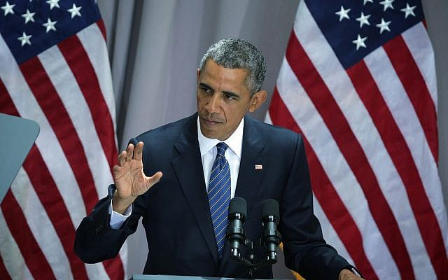 President Barack Obama speaking about the Iran nuclear agreement at American University in Washington, DC, August 5, 2015. (Alex Wong/Getty Images/via GTA)