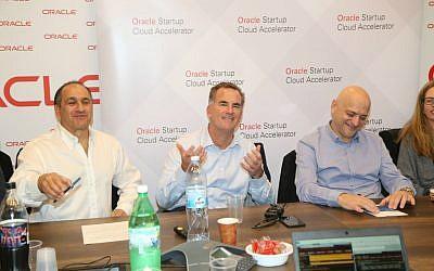Left to right: Ilan Spiegelman – VP Marketing Oracle Israel Reggie Bradford, SVP Oracle Uzi Navon – Oracle Israel Country Leader (Courtesy: Sally Farag)