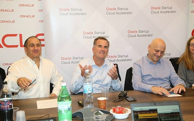 Left to right: Ilan Spiegelman – VP Marketing Oracle Israel Reggie Bradford, SVP Oracle Uzi Navon – Oracle Israel Country Leader (Courtesy: Sally Farag)