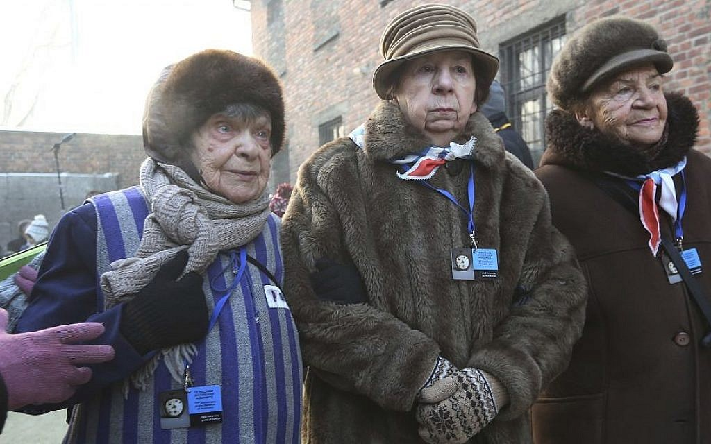 Holocaust survivors commemorate people killed by the Nazis at the former Nazi death camp in Auschwitz, Poland, Friday, Jan. 27, 2017, on International Holocaust Remembrance Day (Czarek Sokolowski/AP)