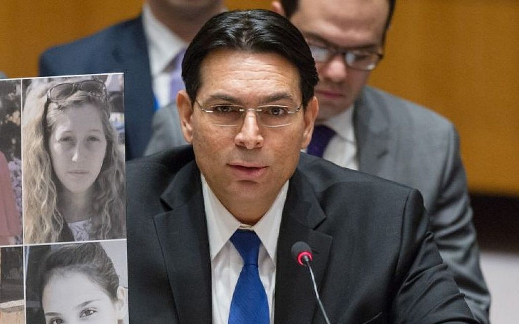 Israel ambassador to the United Nations Danny Danon addresses the UN Security Council on January 17, 2017 (Courtesy)