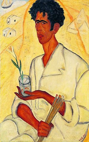 Another Reuven Rubin self-portait, this one with the artist holding a lily, reflecting on how Jesus called himself a lily of the valley (Courtesy Israel Museum)
