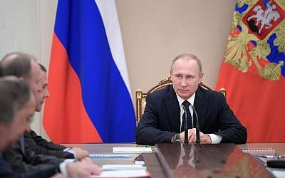 Russian President Vladimir Putin chairs a government meeting in the Kremlin in Moscow, Russia, Thursday, Jan. 19, 2017. (Alexei Druzhinin/Sputnik, Kremlin Pool Photo via AP)