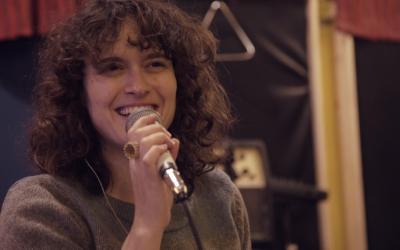 Singer Gal De Paz at a rehearsal in Tel Aviv. January 10, 2016. (Luke Tress/Times of Israel)
