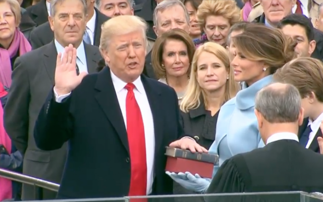 President Donald Trump is sworn into office, January 20, 2017 (White House Screenshot)
