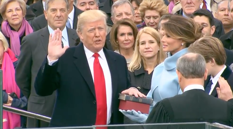 President Donald Trump is sworn into office (White House Screenshot)
